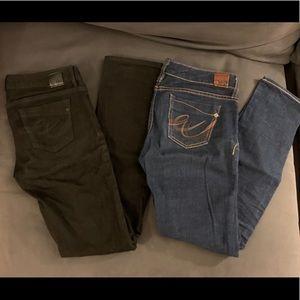 2 Pairs Express Denim Jeans Boot Cut Black Blue W2